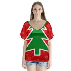 Christmas Tree Flutter Sleeve Top