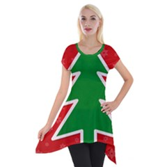 Christmas Tree Short Sleeve Side Drop Tunic