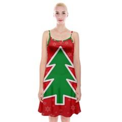 Christmas Tree Spaghetti Strap Velvet Dress