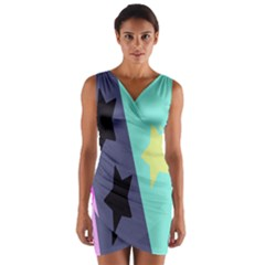 Cool Star Flag Wrap Front Bodycon Dress