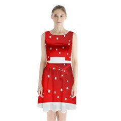 Christmas Background  Sleeveless Chiffon Waist Tie Dress
