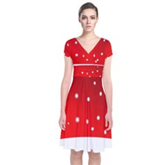 Christmas Background  Short Sleeve Front Wrap Dress