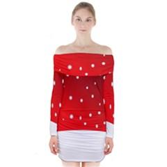 Christmas Background  Long Sleeve Off Shoulder Dress