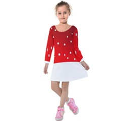 Christmas Background  Kids  Long Sleeve Velvet Dress