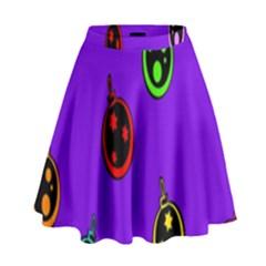 Christmas Baubles High Waist Skirt
