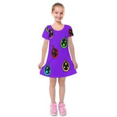 Christmas Baubles Kids  Short Sleeve Velvet Dress