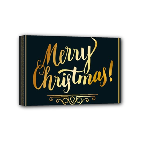 Christmas Gold Black Frame Noble Mini Canvas 6  x 4