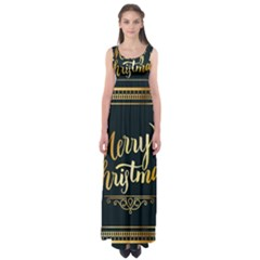 Christmas Gold Black Frame Noble Empire Waist Maxi Dress