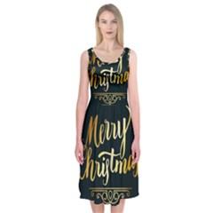 Christmas Gold Black Frame Noble Midi Sleeveless Dress