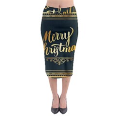 Christmas Gold Black Frame Noble Midi Pencil Skirt
