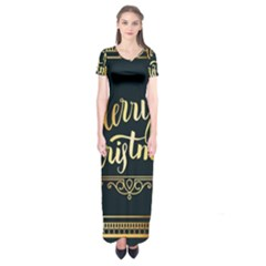 Christmas Gold Black Frame Noble Short Sleeve Maxi Dress