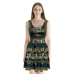 Christmas Gold Black Frame Noble Split Back Mini Dress