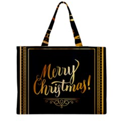 Christmas Gold Black Frame Noble Medium Zipper Tote Bag