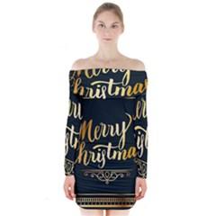 Christmas Gold Black Frame Noble Long Sleeve Off Shoulder Dress