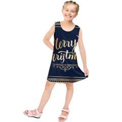 Christmas Gold Black Frame Noble Kids  Tunic Dress