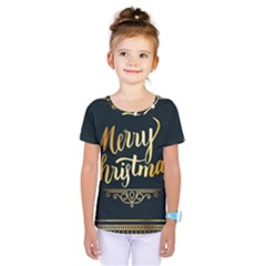Christmas Gold Black Frame Noble Kids  One Piece Tee