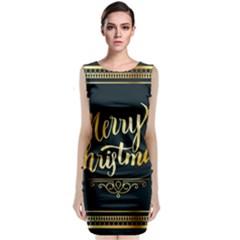 Christmas Gold Black Frame Noble Sleeveless Velvet Midi Dress