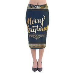 Christmas Gold Black Frame Noble Velvet Midi Pencil Skirt