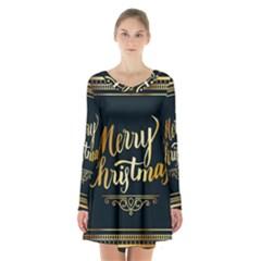 Christmas Gold Black Frame Noble Long Sleeve Velvet V Neck Dress