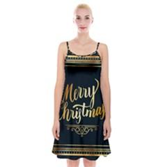 Christmas Gold Black Frame Noble Spaghetti Strap Velvet Dress