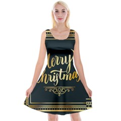 Christmas Gold Black Frame Noble Reversible Velvet Sleeveless Dress