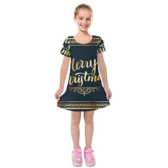 Christmas Gold Black Frame Noble Kids  Short Sleeve Velvet Dress