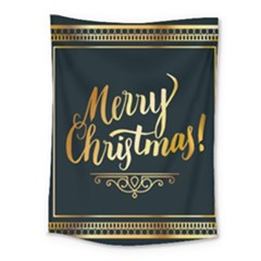 Christmas Gold Black Frame Noble Medium Tapestry