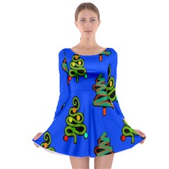 Christmas Trees Long Sleeve Skater Dress