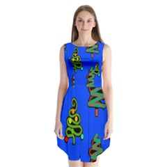 Christmas Trees Sleeveless Chiffon Dress