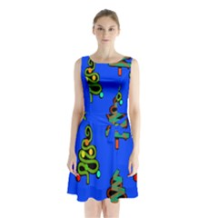 Christmas Trees Sleeveless Chiffon Waist Tie Dress