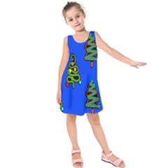Christmas Trees Kids  Sleeveless Dress