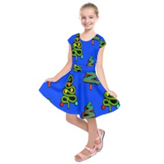 Christmas Trees Kids  Short Sleeve Dress