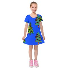 Christmas Trees Kids  Short Sleeve Velvet Dress
