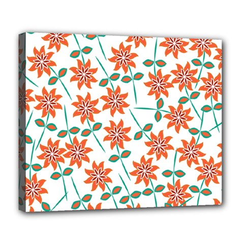 Clipart Floral Seamless Flower Leaf Deluxe Canvas 24  X 20
