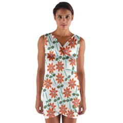 Clipart Floral Seamless Flower Leaf Wrap Front Bodycon Dress