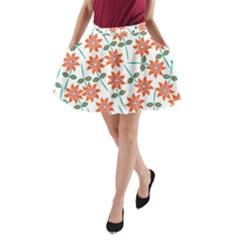 Clipart Floral Seamless Flower Leaf A-Line Pocket Skirt