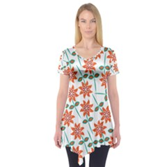 Clipart Floral Seamless Flower Leaf Short Sleeve Tunic