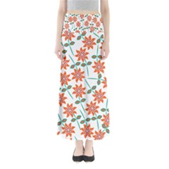 Clipart Floral Seamless Flower Leaf Maxi Skirts