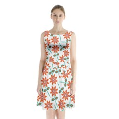 Clipart Floral Seamless Flower Leaf Sleeveless Chiffon Waist Tie Dress