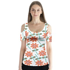 Clipart Floral Seamless Flower Leaf Butterfly Sleeve Cutout Tee