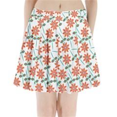Clipart Floral Seamless Flower Leaf Pleated Mini Skirt