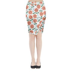 Clipart Floral Seamless Flower Leaf Midi Wrap Pencil Skirt