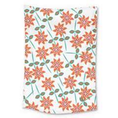 Clipart Floral Seamless Flower Leaf Large Tapestry