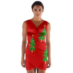 Christmas Trees Wrap Front Bodycon Dress