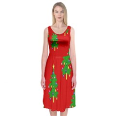 Christmas Trees Midi Sleeveless Dress