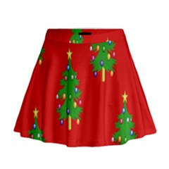 Christmas Trees Mini Flare Skirt