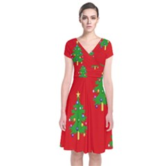 Christmas Trees Short Sleeve Front Wrap Dress