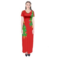 Christmas Trees Short Sleeve Maxi Dress