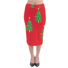 Christmas Trees Velvet Midi Pencil Skirt