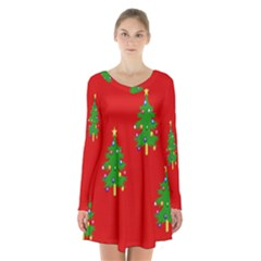 Christmas Trees Long Sleeve Velvet V Neck Dress